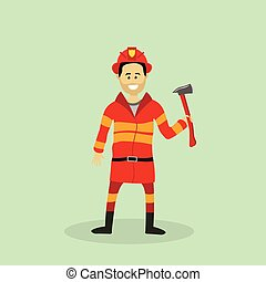 Vector firefighter with an ax, vector illustration
