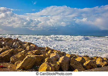 Huge foaming waves of the Mediterranean - Tel Aviv in...