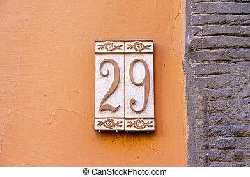 Number 29 - ceramic house number twenty nine (29)