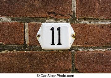 Number 11 - enameled house number eleven