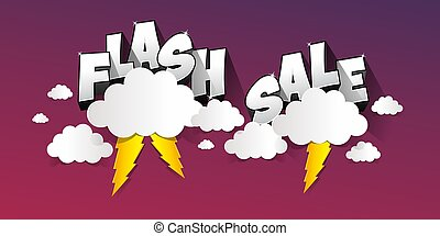 Flash Sale with thunder on background vector illustration