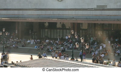 People outside a Train Station - Time lapse in Venice
