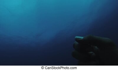 Diver swim underwater. Look at hand. Blue clean ocean....