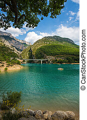 The bridge over river Verdon in Provence - National park...
