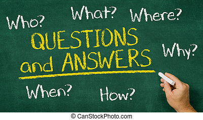Hand writing on a chalkboard - Questions and Answers