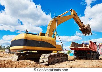 Loader excavator moving earth into dumper truck