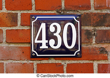 Number 430 - Enameled house number four hundred an thirty...