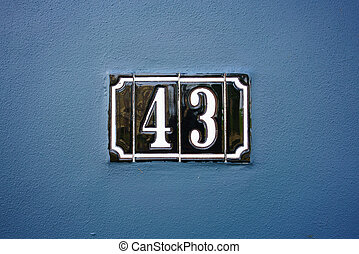Number 43 - ceramic house number forty three 43