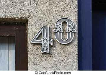 Number 40 - house number forty 40