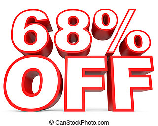 Discount 68 percent off. 3D illustration on white...