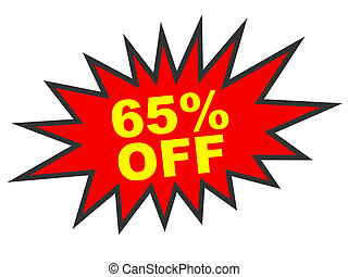 Discount 65 percent off. 3D illustration on white...