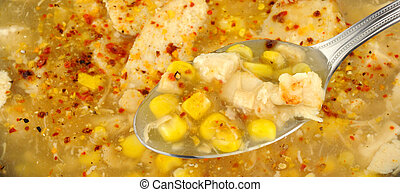 Chicken And Sweetcorn Soup - Spoon with chicken and...