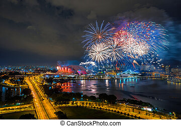 Beautiful Singapore national day fireworks at national...
