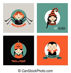 Set of 16 halloween costume characters and kids , vector...