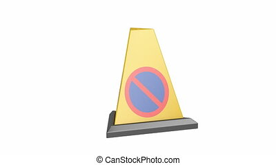 Yellow no parking cone spin on white background