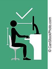 correct back sitting pose symbol