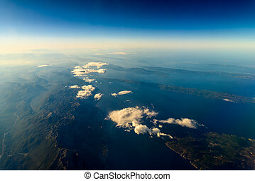 Earth Islands And Mediterranean Sea At 10.000m Altitude...