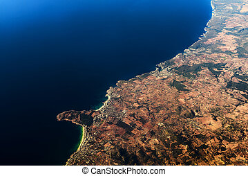 Palma de Mallorca And Balearic Sea At 10.000m Altitude Above...