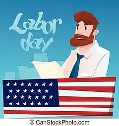 Business Man Hold Document American Labor Day USA Holiday...