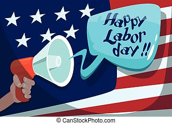 Hand Hold Megaphone US Flag Background American Labor Day...