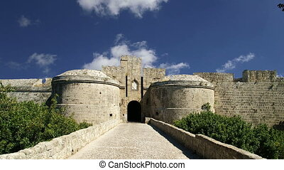 Medieval city walls in Rhodes town, Greece  (time lapse)