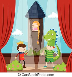 Kids doing role play on stage illustration