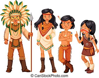 Group of native american indians in costume