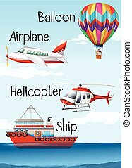 Different types of aircrafts and ship illustration