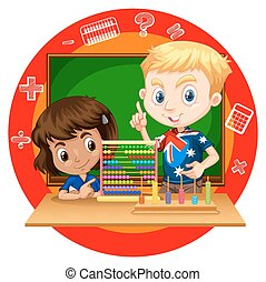 Boy and girl with abacus illustration