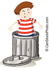 Boy in trashcan alone illustration