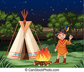 Red indian at the campfire illustration