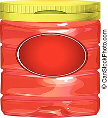 Red jar with yellow lid illustration