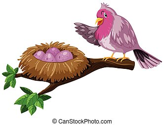 Bird and bird nest with eggs illustration