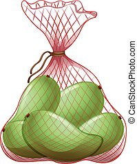 Green mangoes in net bag