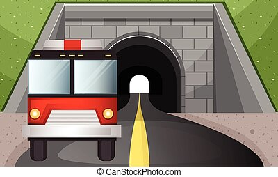 Fire engine driving out of tunnel illustration