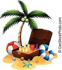 Summer theme with suitcase and sandcastle illustration