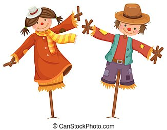 Two scarecrows look like human boy and girl illustration