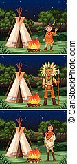 Scene with native american indians at campground...