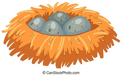 Four gray eggs in bird nest illustration