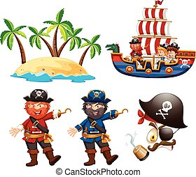 Pirates and children on the ship illustration