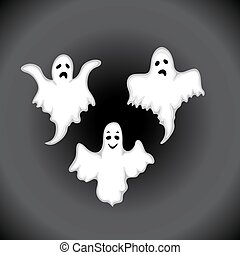 Ghost set on a black background in the style of the cartoon