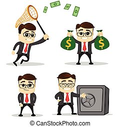 Set of cute characters businessman and office worker poses. Vector. Manager character. Safe.
