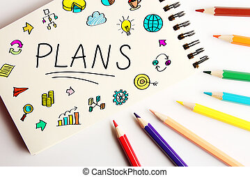 Plans Business Concept - Plans business concept on the note...