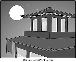 pagoda in the night illustration - Creative design of pagoda...