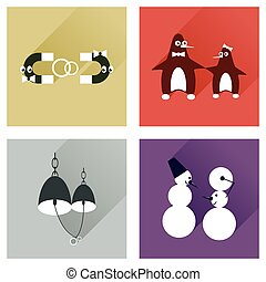 Set of flat web icons with long shadow lovers