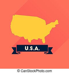Flat icon with long shadow united states map