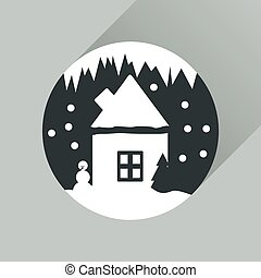 Flat web icon with long shadow house in snow globe