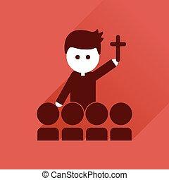 płaski, katolik, długi, Ksiądz, cień, Ikona