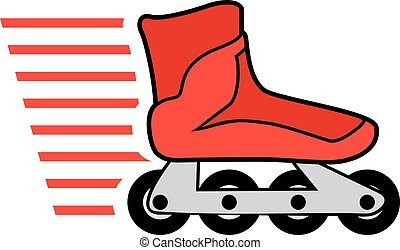 red roller skates - Creative design of red roller skates