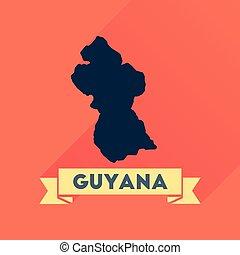 Flat icon with long shadow Guyana map